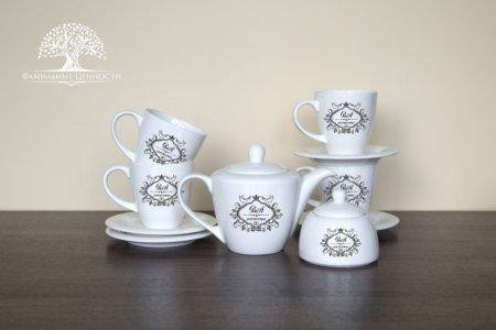 4 чайные пары 320 мл+ чайник + сахарница