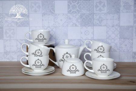 6 чайных пар 280 мл + чайник + сахарница