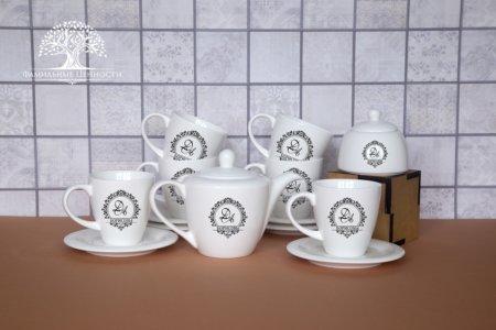 6 чайных пар 320 мл + чайник + сахарница