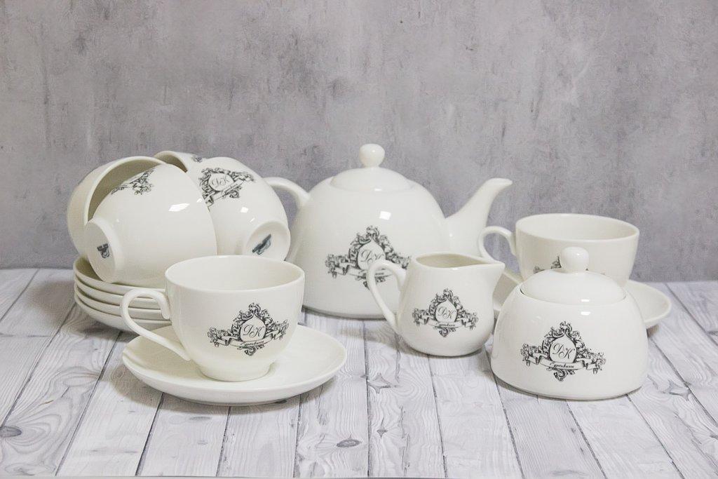 6 чайных пар + чайник + сахарница + молочник